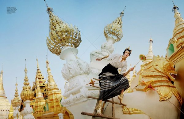 """EDITORIAL W Magazine May 2014 """"Gilt Trip"""" Feat. Edie Campbell by Tim Walker"""