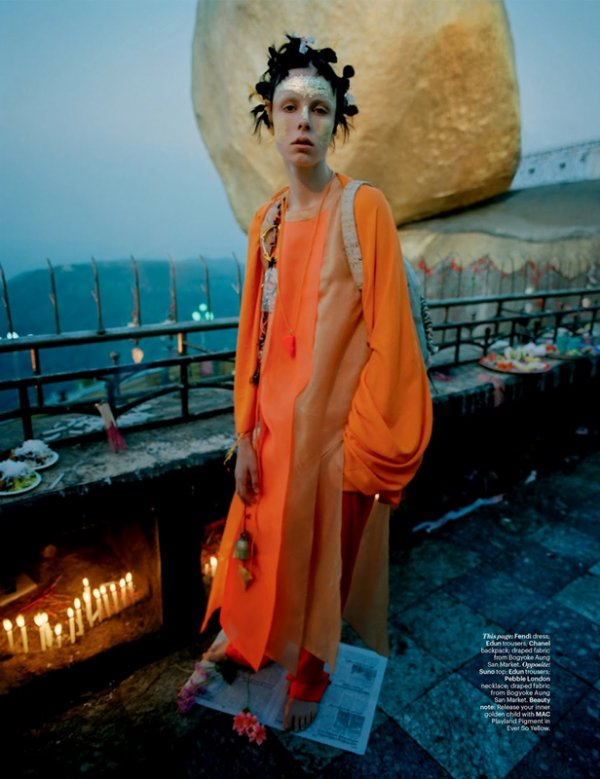 "EDITORIAL W Magazine May 2014 ""Gilt Trip"" Feat. Edie Campbell by Tim Walker"