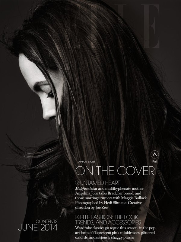"COVER & EDITORIAL Elle US June 2014 ""Untamed Heart"" Feat. Angelina Jolie by Hedi Slimane"