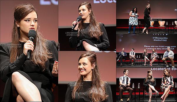 02/ 06 / 17 : Katha étéNetflix's FYC Event pour la série 13 RW à L.Angeles avec ses co-stars. Katha en compagnie de Kate Wash et Dylan Minette où ils ont pu échangés avec les fans lors d'un panel. Elle est sublime, au TOP !