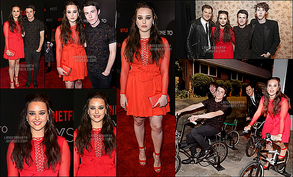 07 / 05 / 17 : Katherine s'est rendue à l'événement deNetflixavec ses co-stars de 13 RW. Après avoir été au MTV movie awards, Kath & le cast ont été à cette évènement avec la meme tenue. Donc c'est toujours, un TOP.