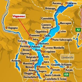 Carte du Lac Majeur   MAISON LAC MAJEUR à VERBANIA dans le PIEMONT