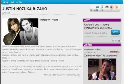 ZAHO prénominé au NRJ music awards 2011 catégories GROUPE / DUO / TROUPE FRANCOPHONE DE L'ANNEE