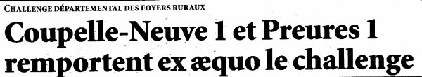 CHALLENGE DEPARTEMENTAL DES FOYERS RURAUX                           Coulomby le samedi 21 janvier 2017