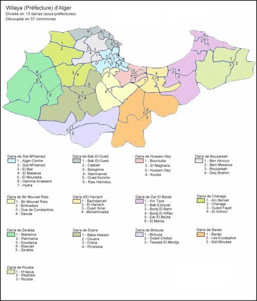 La wilaya d'Alger est la plus peuplée d'Algérie avec 2 988 145 habitants. Elle est également la moins étendue, avec une superficie de 1 190 km2.