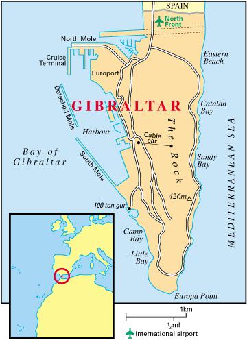 Le territoire a une superficie de 6,8 km2. Il possède une frontière terrestre avec l'Espagne longue de 1 200 m (plus courte frontière terrestre du monde), et 12 km de côtes : il y a deux côtes, la côte est (East Side), où se trouvent deux baies, Sandy Bay (en) et Catalan Bay (en), et la côte ouest (West Side), où vit la majorité de la population.