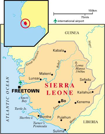 La Sierra Leone, en forme longue la République de Sierra Leone, en anglais Republic of Sierra Leone et en langue krio Salone, est un État d'Afrique de l'Ouest, d'une superficie de 71 740 km2, peuplé de 6,3 millions d'habitants. Il est situé entre la Guinée (au nord-ouest) et le Liberia et bordé au sud-ouest par l'océan Atlantique. La Sierra Leone fait partie de la CEDEAO. Selon l'indicateur de Développement humain (IDH) ce pays fait partie des nations les plus pauvres de la planète.