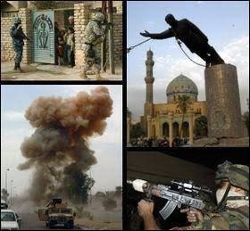 Le 20 mars 2003, à 2 h 45 UTC, le président américain George W. Bush déclare formellement la guerre à l'Irak. Le 19 mars 2003, à 21 h 37, soit quelques heures après la fin de l'ultimatum de 48 heures qui demandait au président irakien Saddam Hussein ainsi qu'à ses fils Oudaï et Qusay de quitter l'Irak, les États-Unis ont lancé des missiles sur Bagdad.