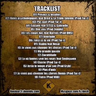 Tracklist Rouleur 2 'R'