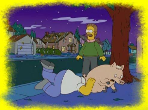 Homer qui a la tête dans le c.. de Spider-Cochon ! ^^