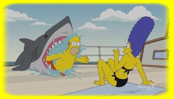 Homer s'amusant avec un requin !