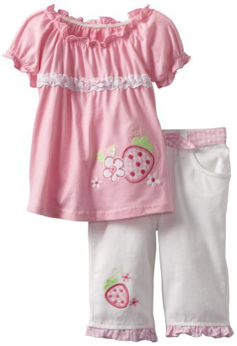 Young Hearts Girls 2-6X 2 Piece Strawberry Twill Capri Set