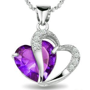 Rhodium Plated 925 Silver Diamond Accent Amethyst Heart Shape Pendant Necklace 18""
