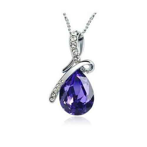 ARCO IRIS Eternal Love Teardrop Swarovski Elements Crystal Pendant Necklace for Women W 18k White Gold Plated Chain Amethyst Purple *** LIMITED TIME DEAL ***