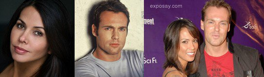 Michael Shanks, his ex-girlfriend Valtiare Bandera(left), his wife Lexa Doig(right)