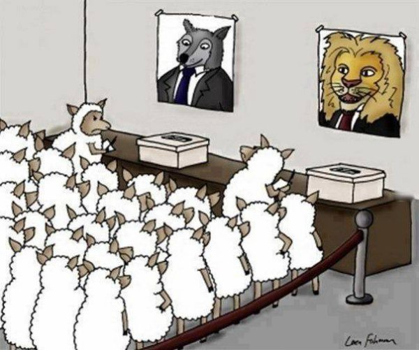 عند العرب :الديمقراطية هي حرية أن تختار من سيأكلك
