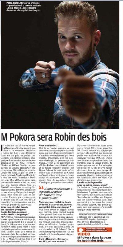 Dans le Parisien aujourd'hui Officiellement Robin Des Bois
