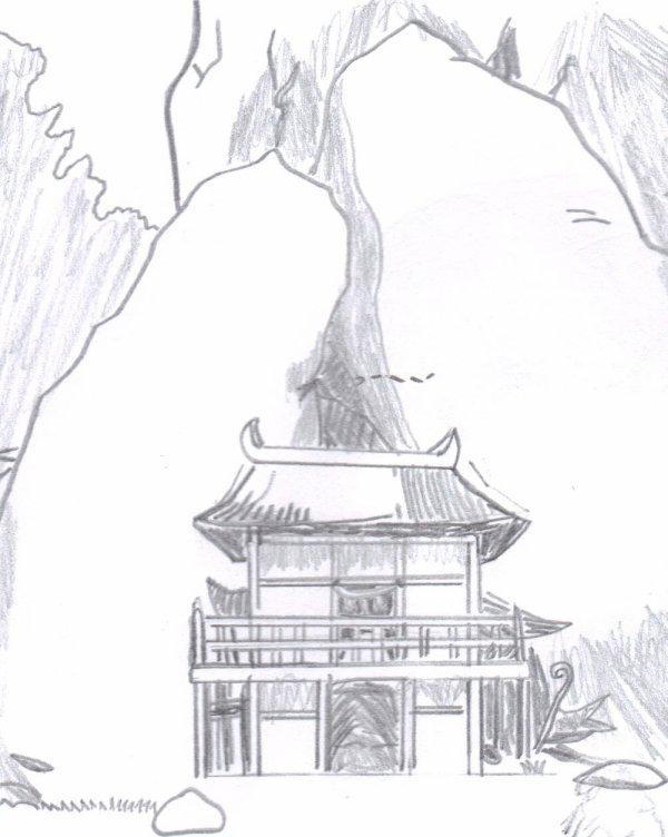 paysage d'un temple japonais ancien