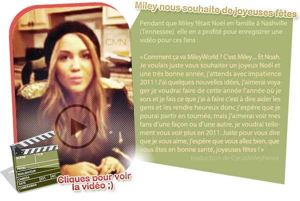 News diverses + vidéo de Miley pour Noël