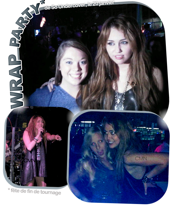 "Miley sur le tournage de ""So Undercover"" le 22/01/11 + Wrap Party."