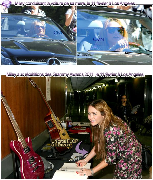 Miley aux répétitions des Grammys + dans Los Angeles le 11/02/11.
