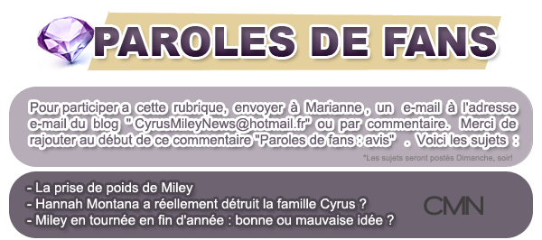 Paroles de fans n°3 & news du 17/02 .