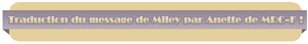 Nouveau message de la part de Miley !