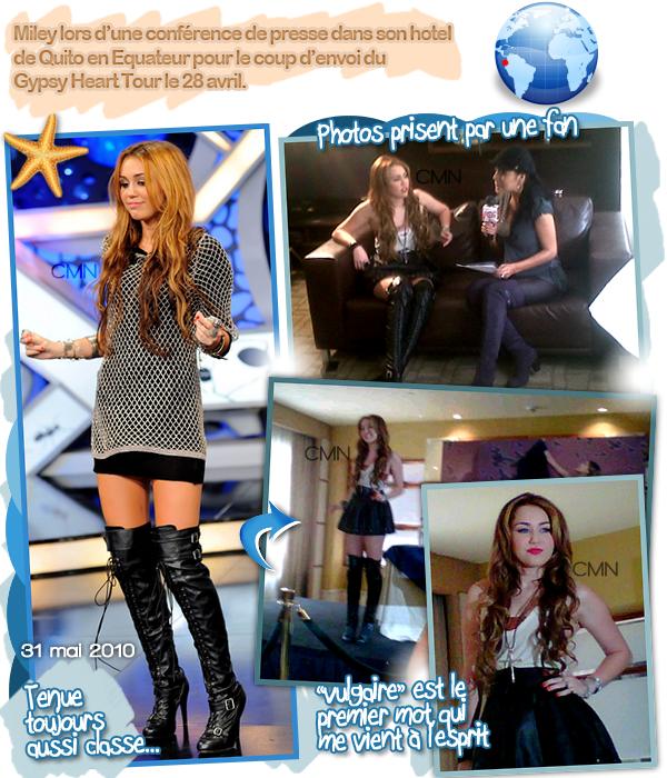 Miley en conférence de presse en Equateur le 28/04.