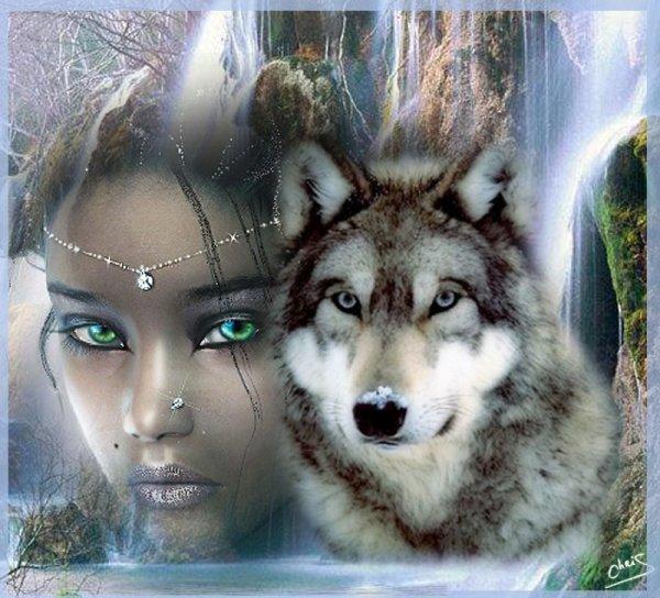 femme et un loup de marc