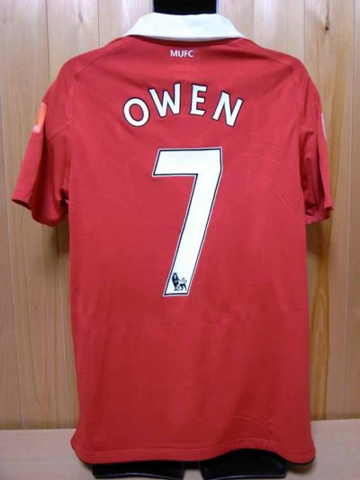 2010 Manchester United #7 Michael Owen Match-issued home shirt (2) FA Community Shield