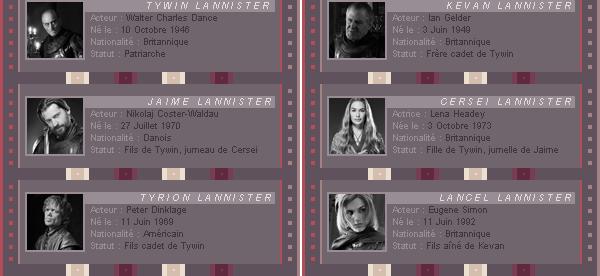 IRONTHRONE - La Famille Lannister. → -Création- - -Décoration- - -Newsletter- - -AmericanAsylum-