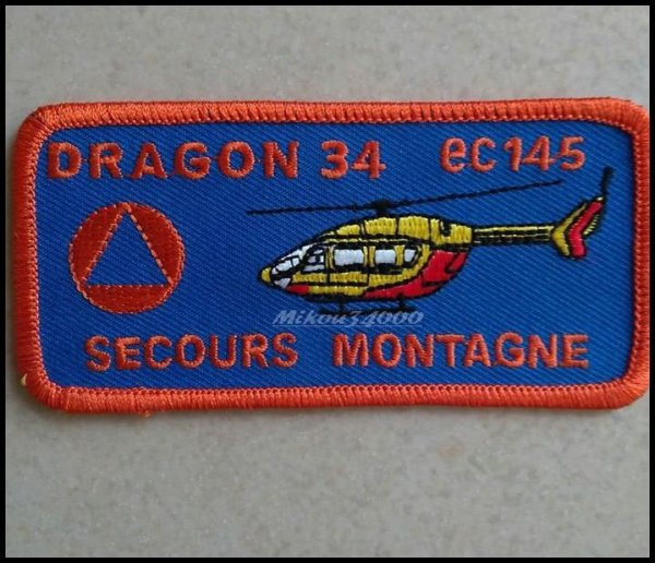 Authentique Écussons Dragon 34 (Secours en Montagnes)