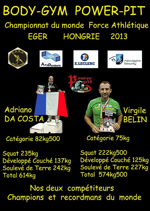 ADRIANO   DA COSTA   VIRGILE  BELIN CHAMPION DU MONDE  EGER  HONGRIE 2013