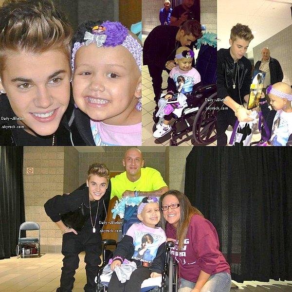 21/10/2012 :  Justin Bieber a rendu visite à Hailey, une enfant malade à Wisconsin (Etats-Unis).