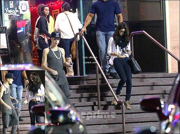 16/11/2012 :  Justin Bieber est allé au restaurant Yamato avec Selena Gomez, où ils se seraient disputés.