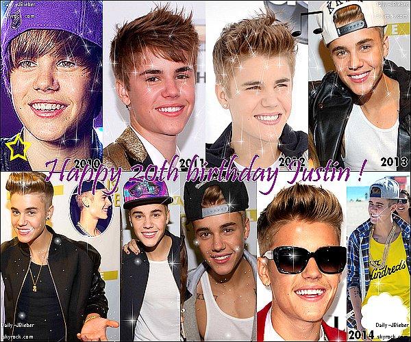 En ce 1er Mars 2014, le jeune canadien Justin Bieber fête ses 20 ans !