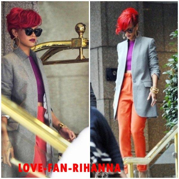 Rihanna quittant son hôtel à Londres . + Rhanna fesant le tour des radios .1er Octobre