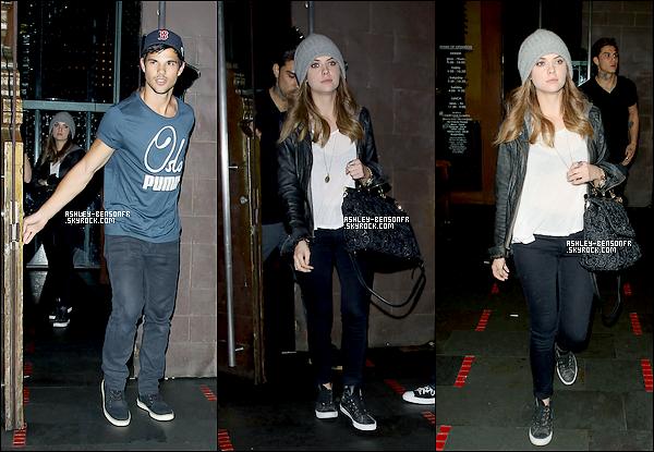 15/03/13 : Ashley a été aperçu en compagnie de Taylor Lautner à la sortie du restaurant « Fogo de Chão » à Los Angeles.