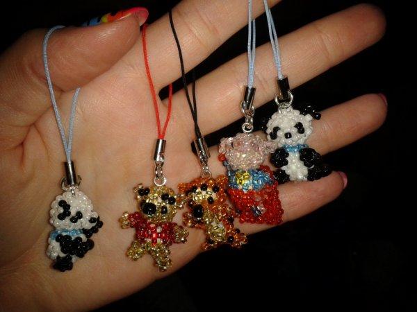 Portes clés en perles de rocaille