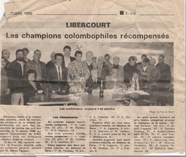 Souvenirs : Remise des prix à Libercourt en 1988
