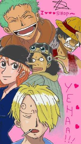 voilà , mon nouveau fanart  ussop, zoro , nami , luffy , sanji