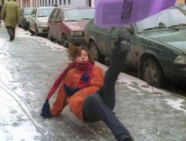 attention risque de verglas la neige as déjà vondue
