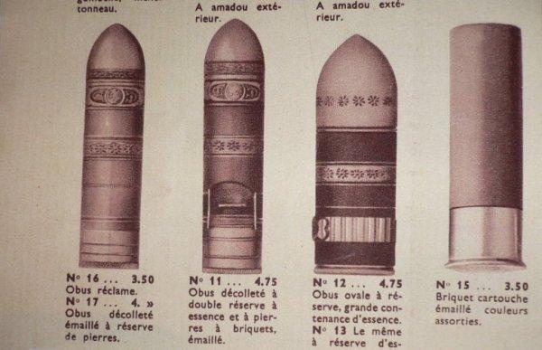 Briquets obus de couleur.