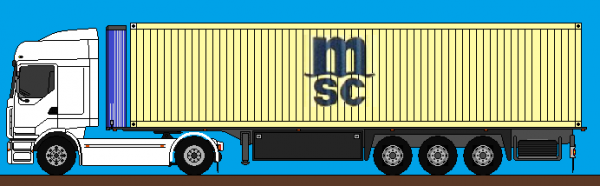 renault premium totliner débacher + conténaire - dessin camion