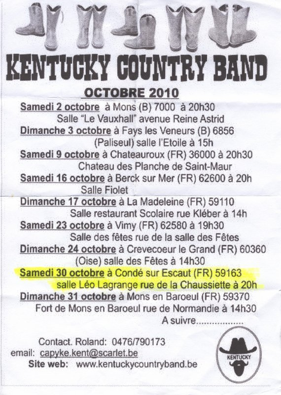 BAL COUNTRY DU 30 OCTOBRE A CONDE SUR L'ESCAUT