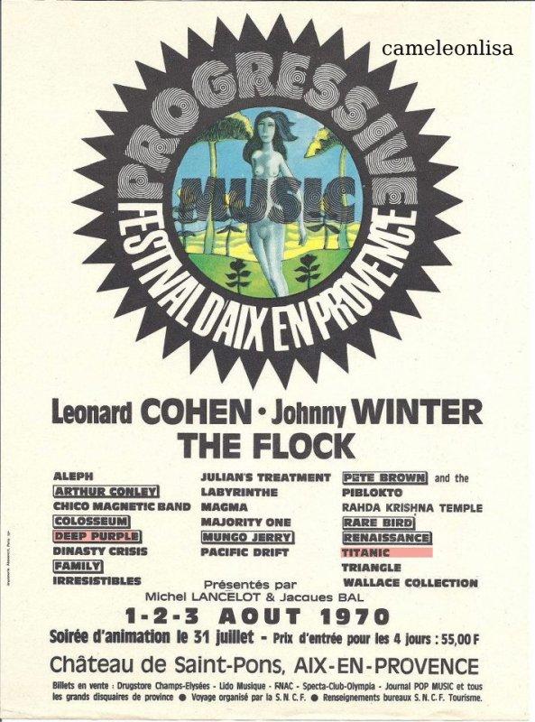 TITANIC - FESTIVAL D'AIX EN PROVENCE - 1 - 2 - 3 AOUT 1970