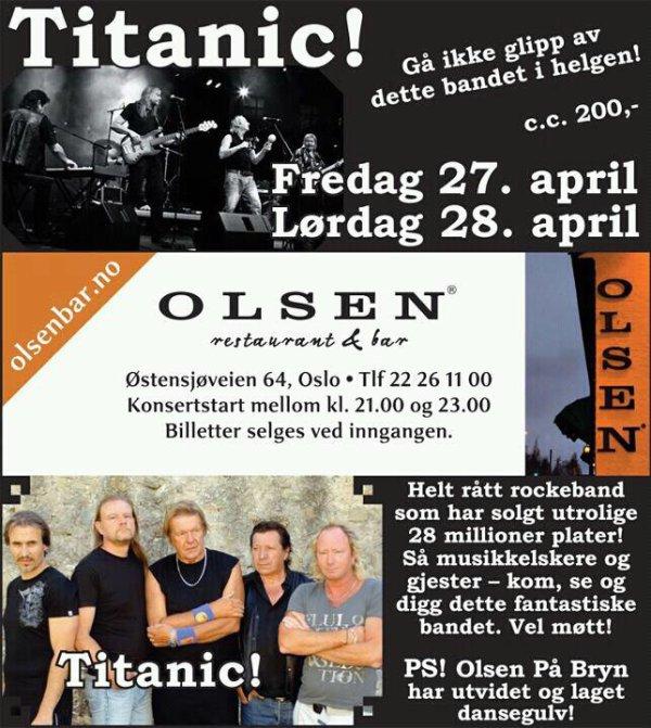 TITANIC EN CONCERT A OLSEN - NORVEGE LES 27 ET 28 AVRIL 2012