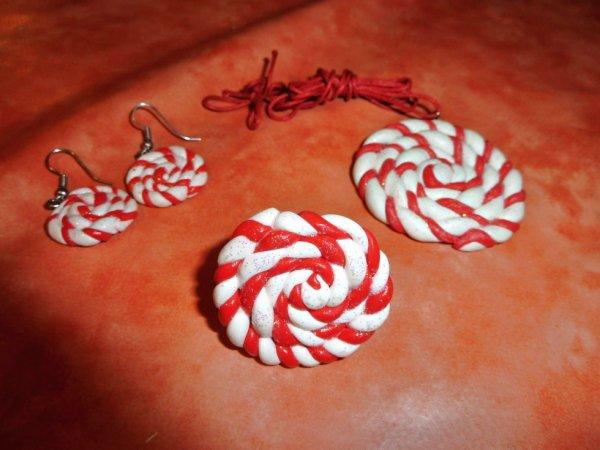 Spirales, boucles d'oreilles, bague et collier