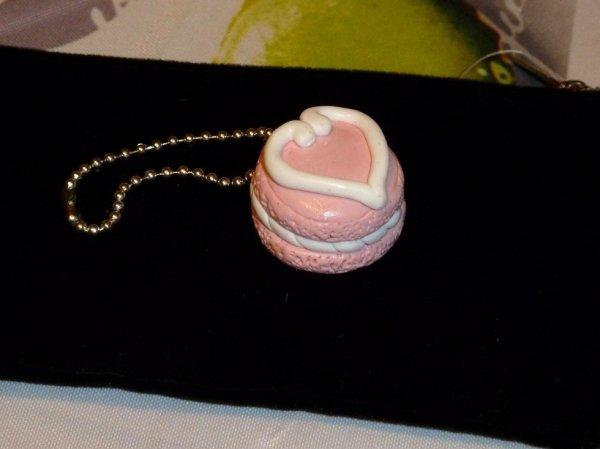 porte clés macaron rose