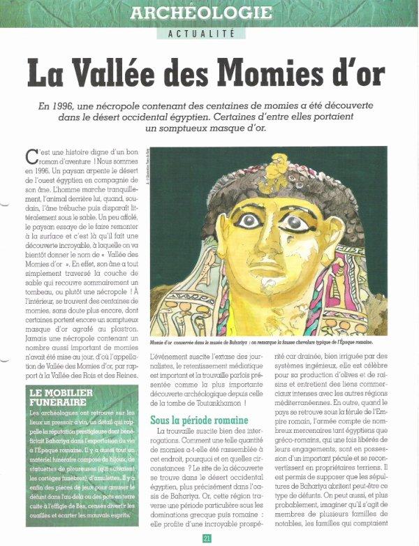 ACTUALITE  :  (  LA  VALLEE  DES  MOMIES  D  OR  )  .